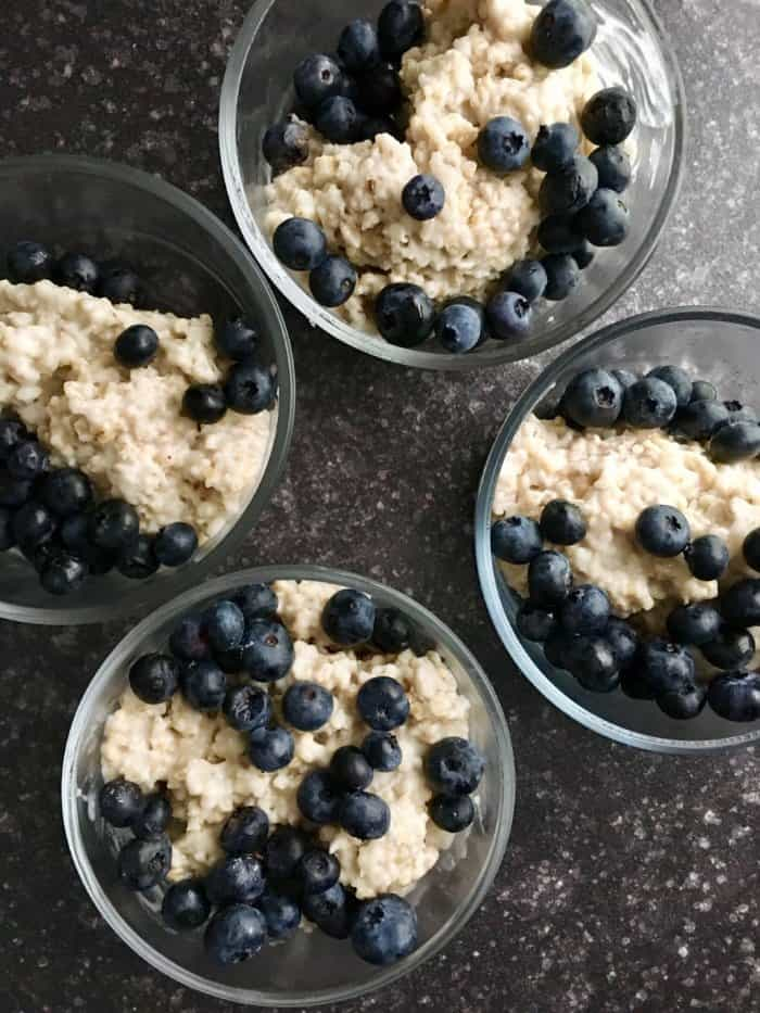 Steel oats prepped into containers that serve as freezer meals for new moms.