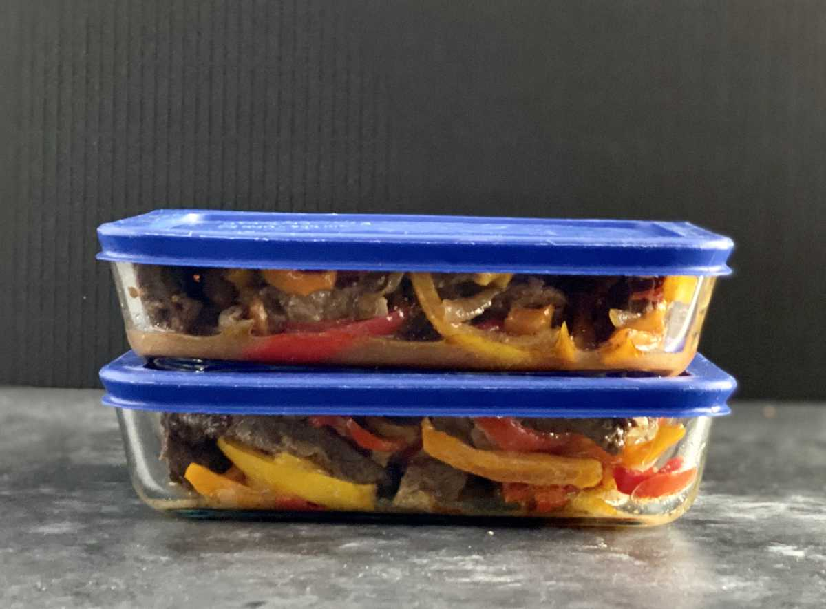 steak fajitas in glass containers