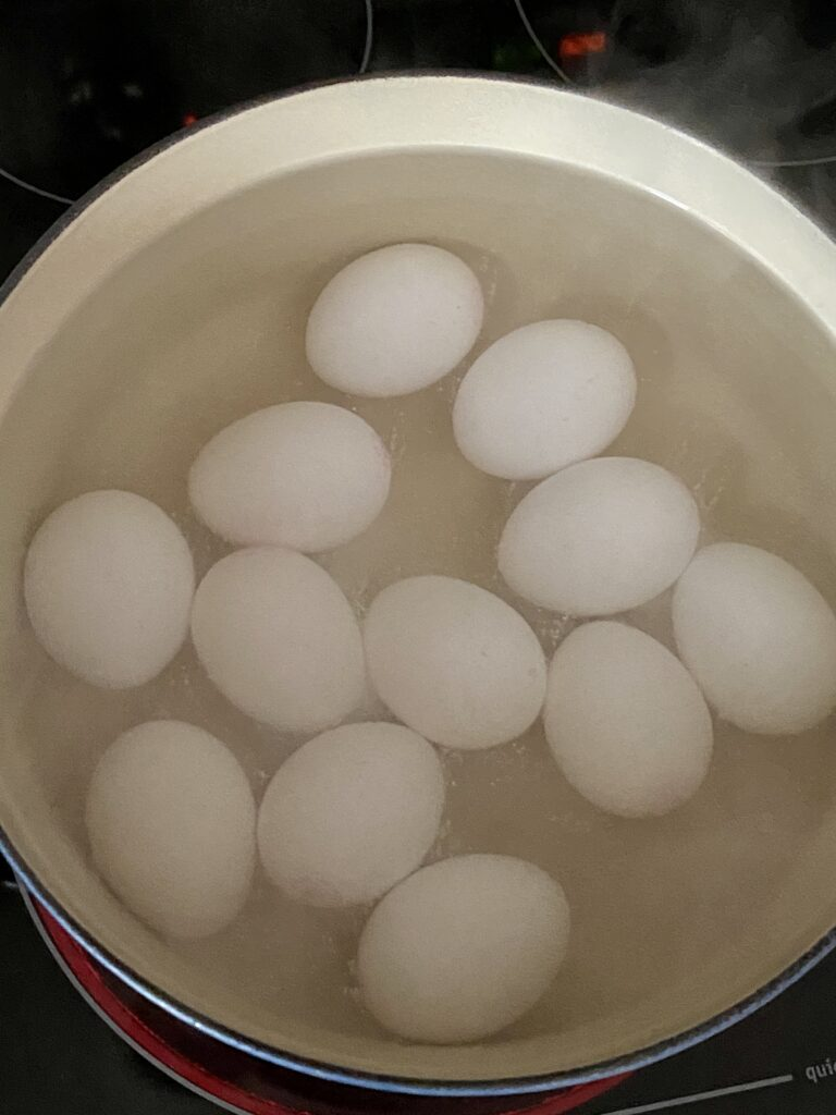 Pot of hardboiled eggs cooking