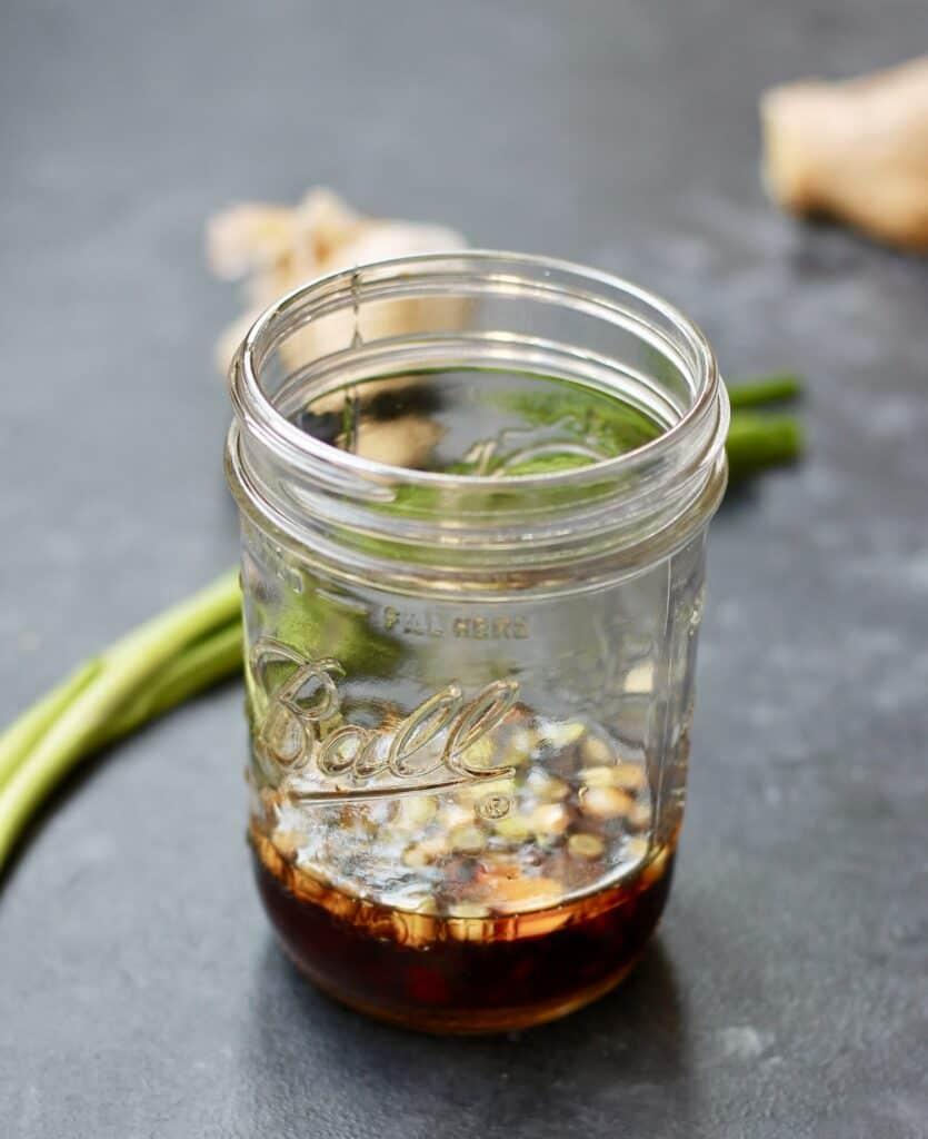 DIY Beef and broccoli marinade in a mason jar