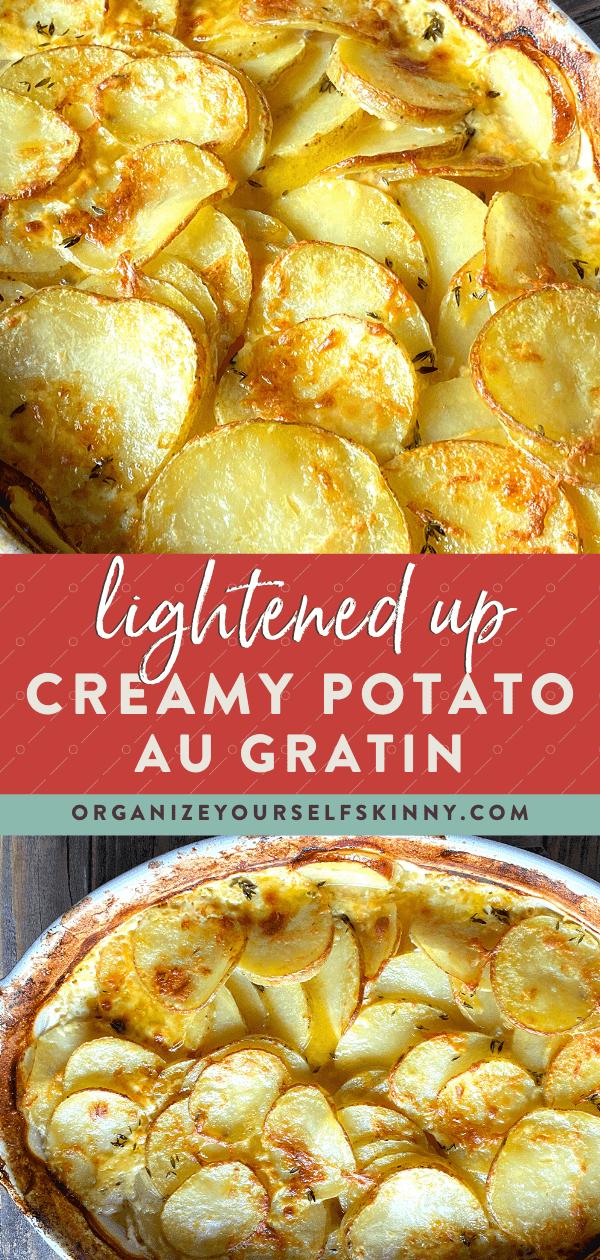 Pinterest graphic for creamy potato gratin recipe