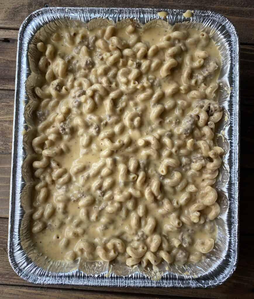Cheeseburger macaroni freezer casserole in a pan