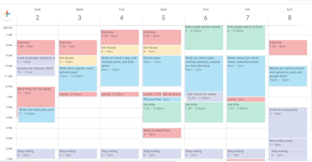 time-block calendar
