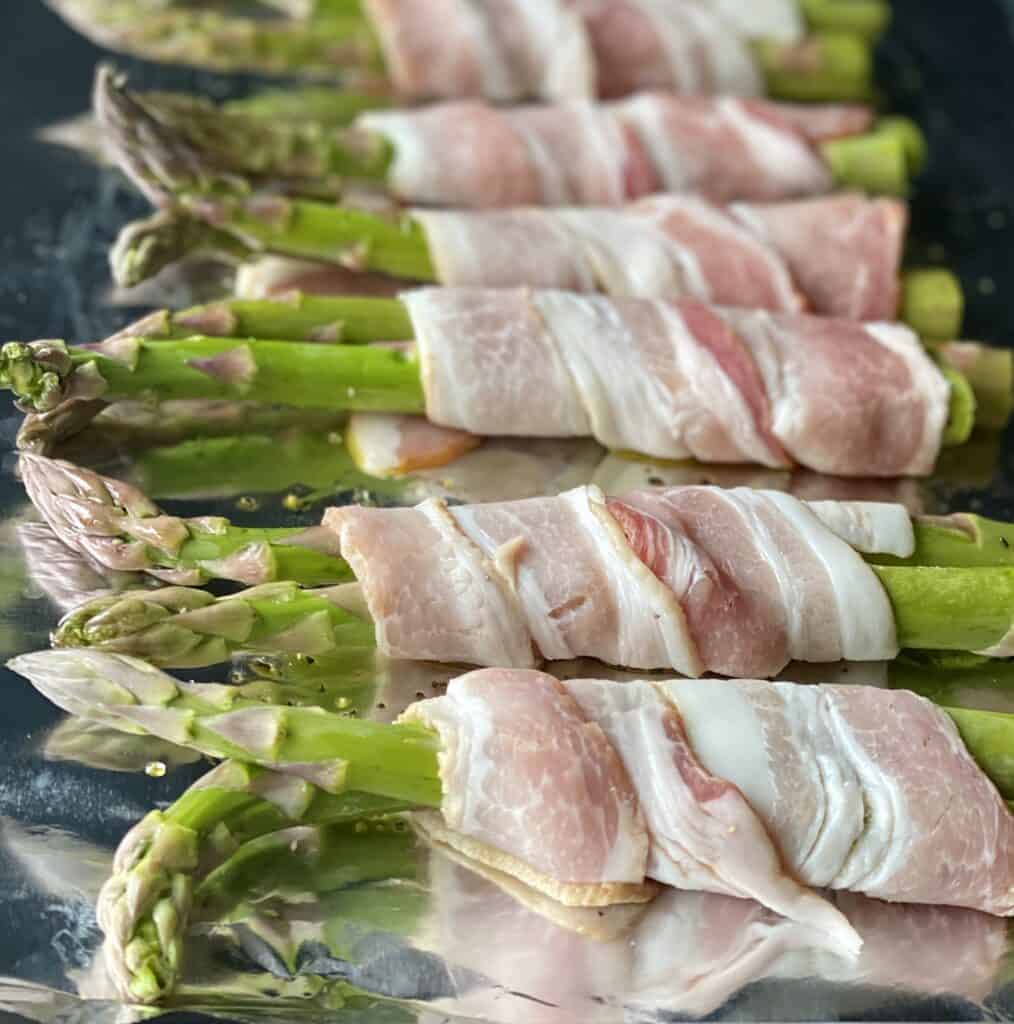 raw bacon-wrapped asparagus