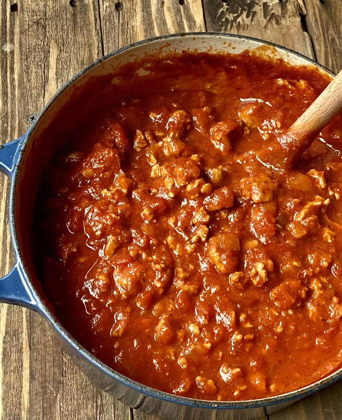 turkey bolognese in a stovetop pot