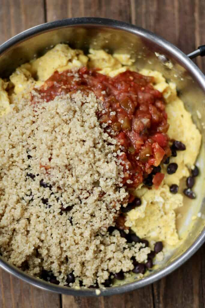 egg, quinoa, black beans, and salsa filling for burrito