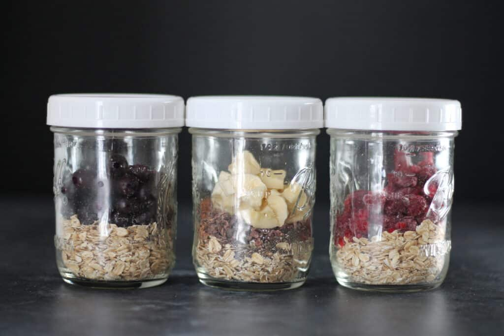 overnight oats stored in mason jars