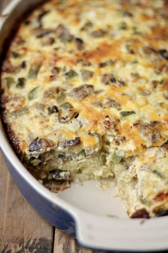 overnight egg bake in a casserole dish