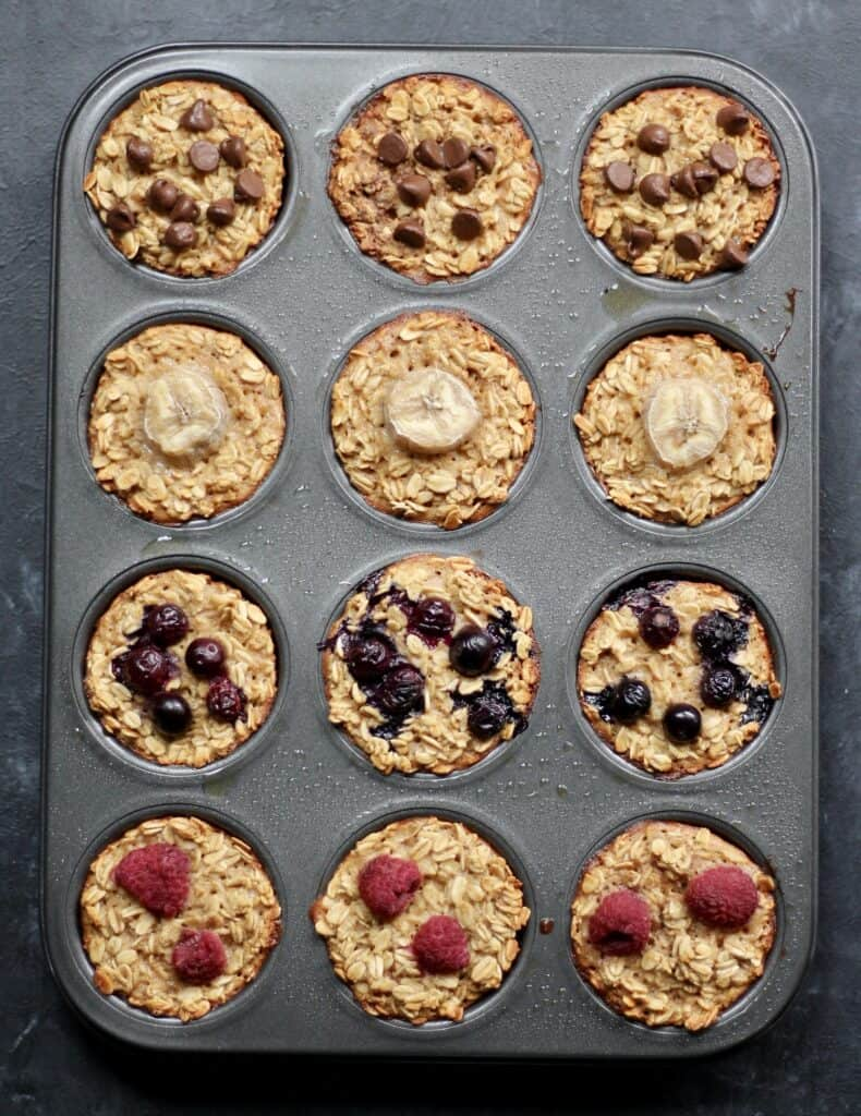4 different flavors of baked oatmeal in muffin tins