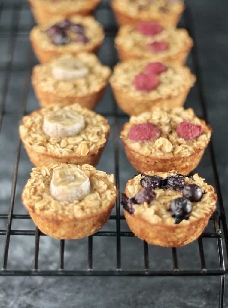Baked oatmeal cups cooling on a rack
