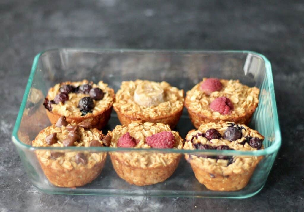 Baked oatmeal cups in a glass pyrex dish.