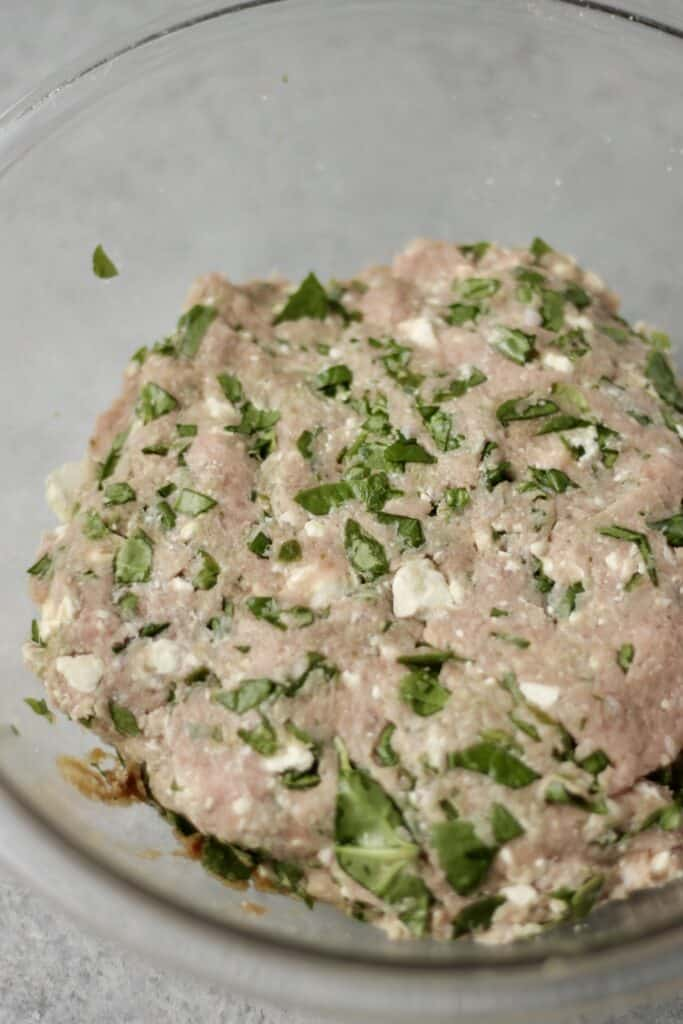 Green turkey burger mix before cooking