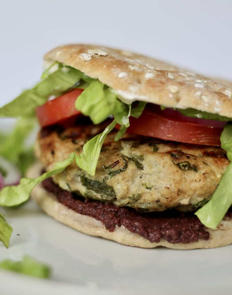 Close up of a greek burger made with turkey meat