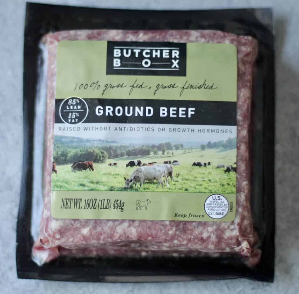Package of grass fed ground beef from butcher box