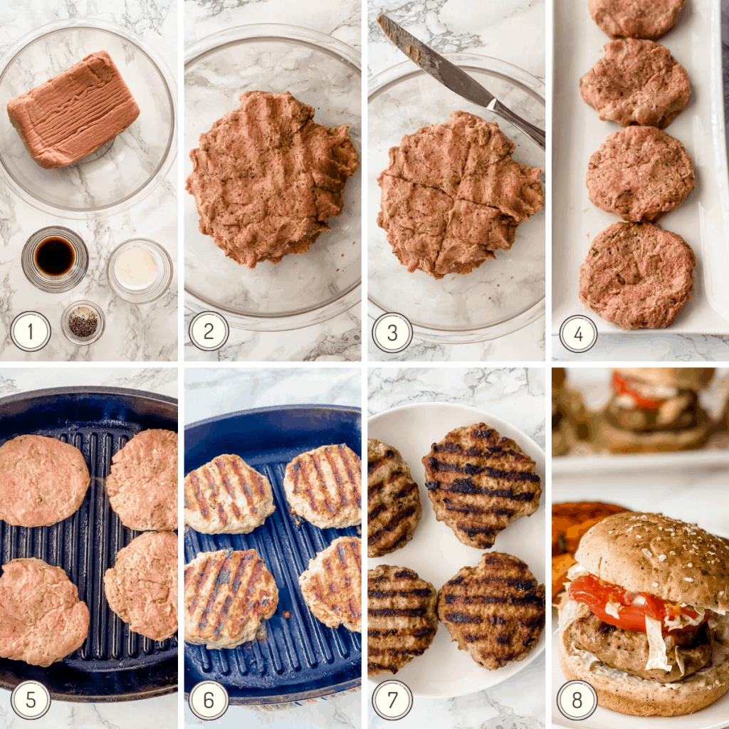 step by step collage showing exactly how to make a turkey burger recipe