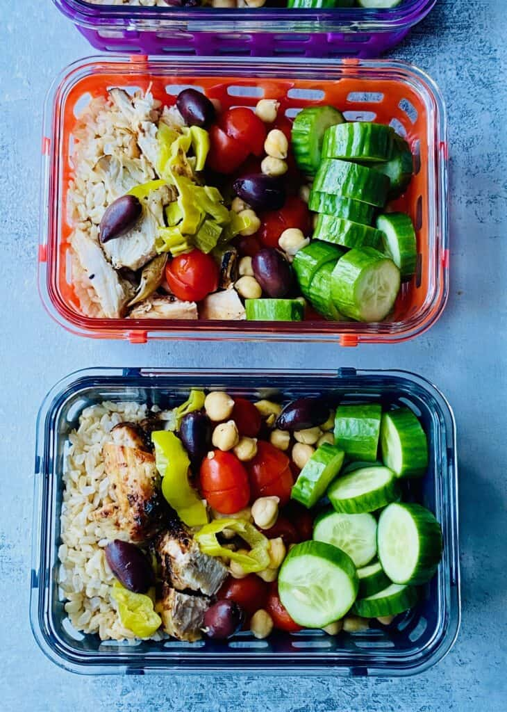 veggies and chicken in meal prep containers