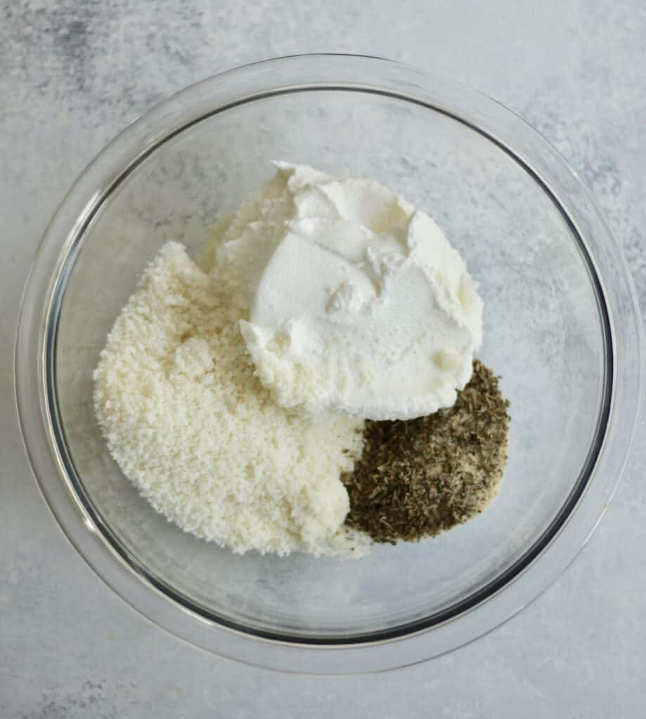 greek yogurt chicken ingredients in a glass bowl