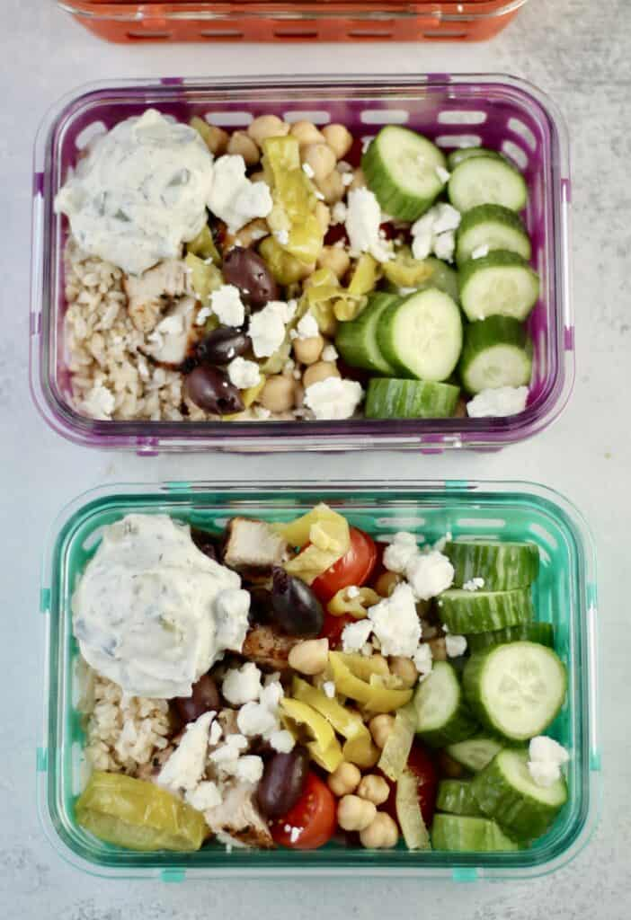 Greek chicken bowls with tzatziki, rice, cucumbers and chickpeas