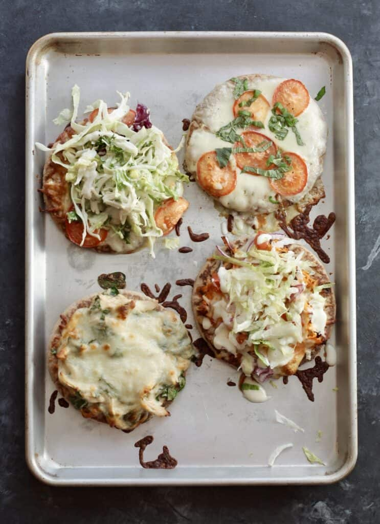 delicious pita pizzas cooked on sheet pan