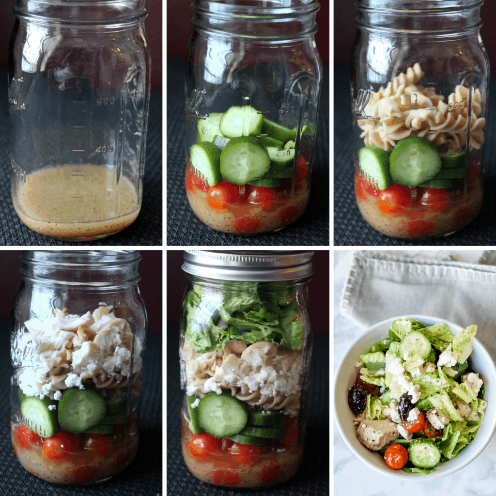 step by step collage showing how to make a mason jar salad
