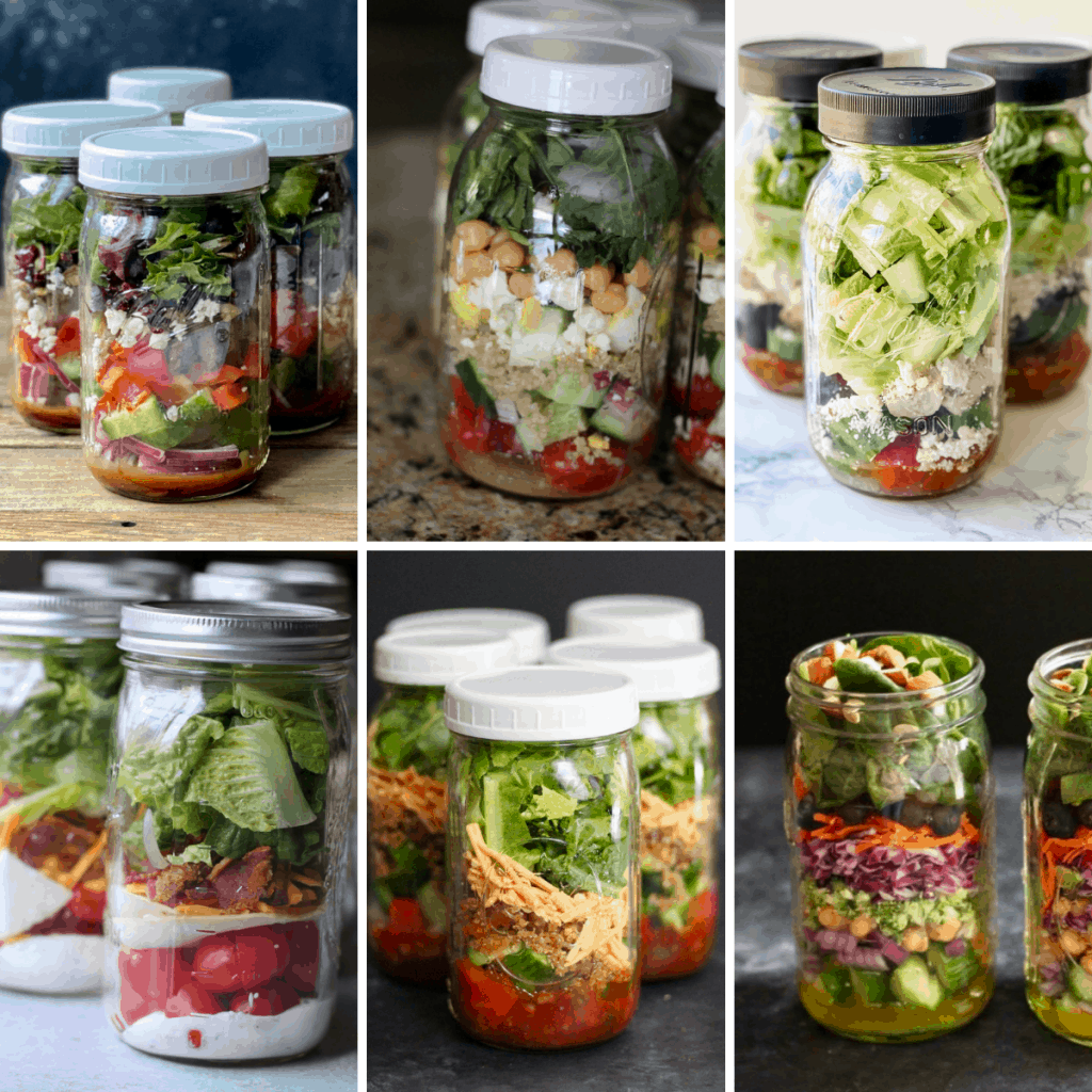 6 salad in a jar recipes in a collage