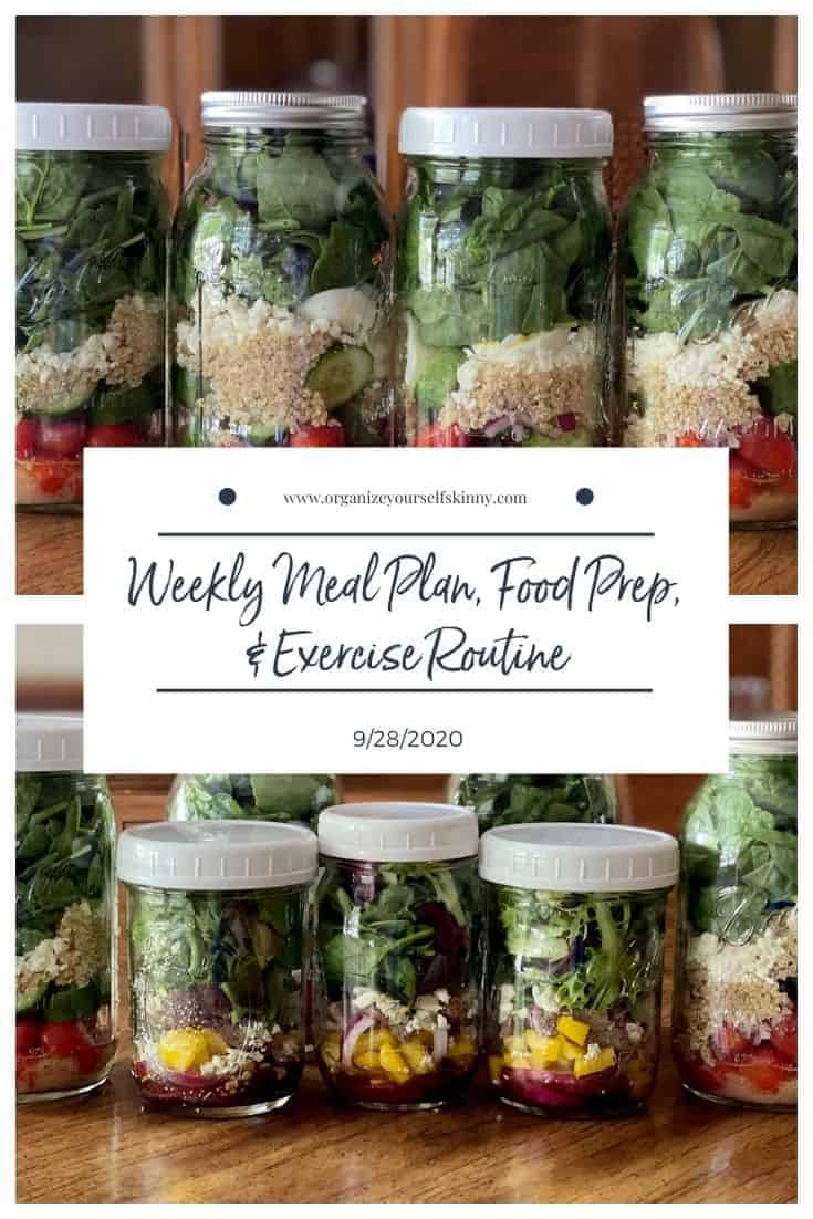 Weekly meal plan, Food prep, and exercise routine for the week