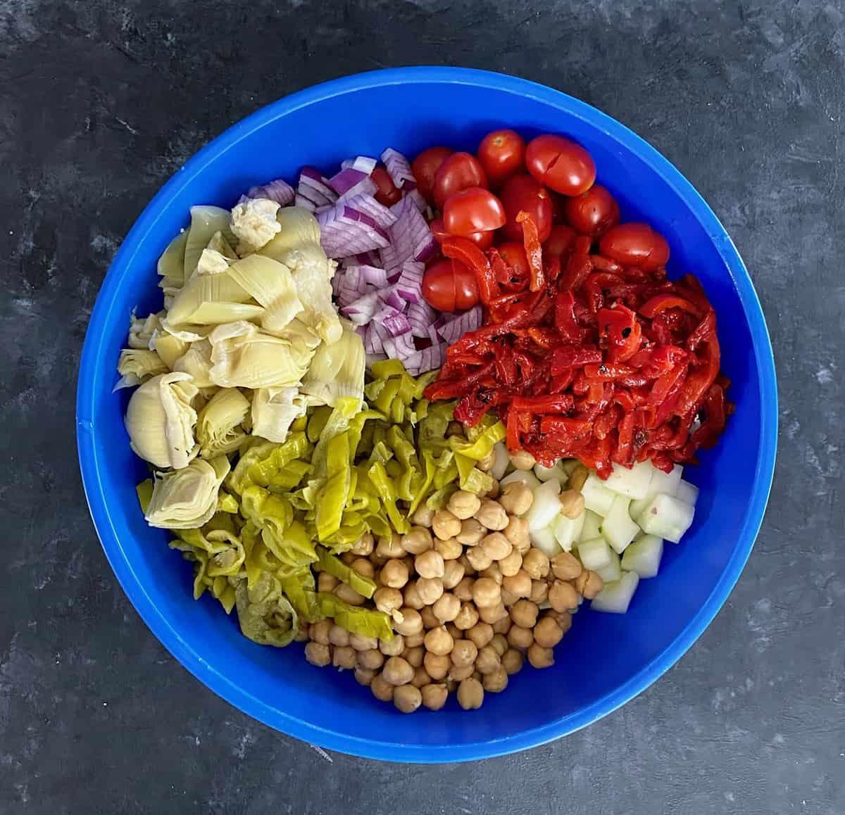 ingredients to make vegan pasta salad
