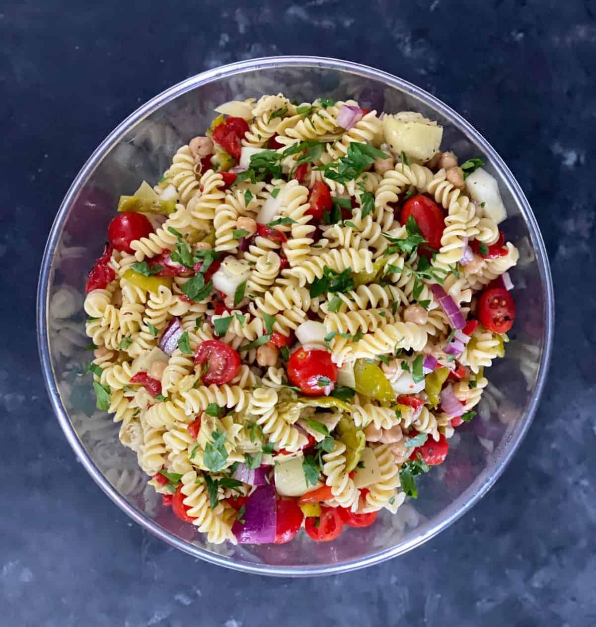 Italian pasta salad with veggies