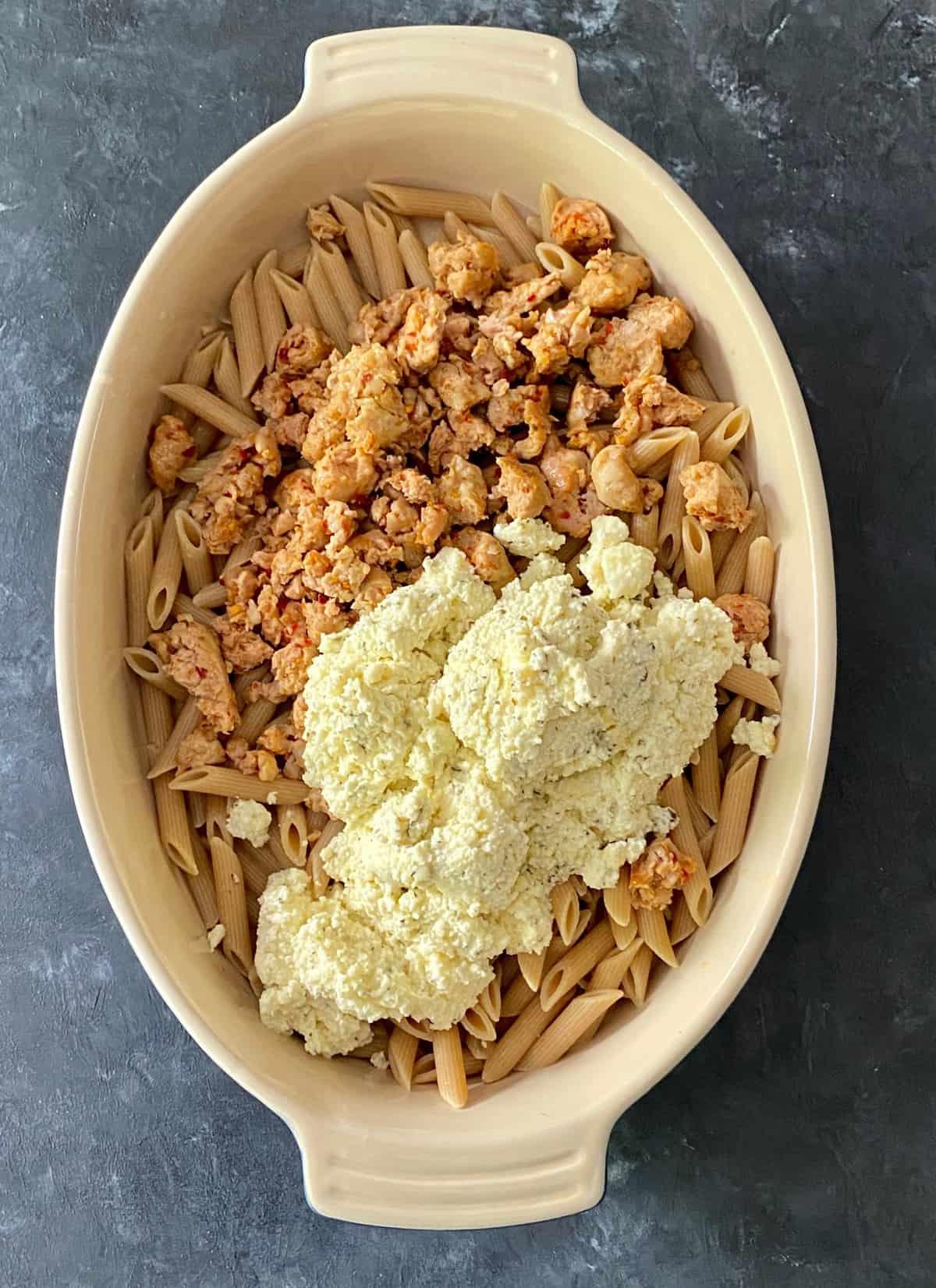 baked ziti casserole before baking