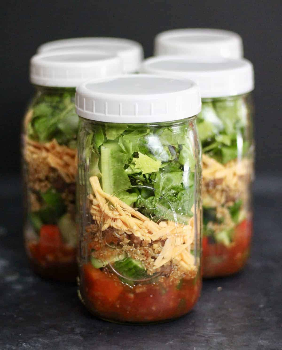 vegan taco salad in mason jars