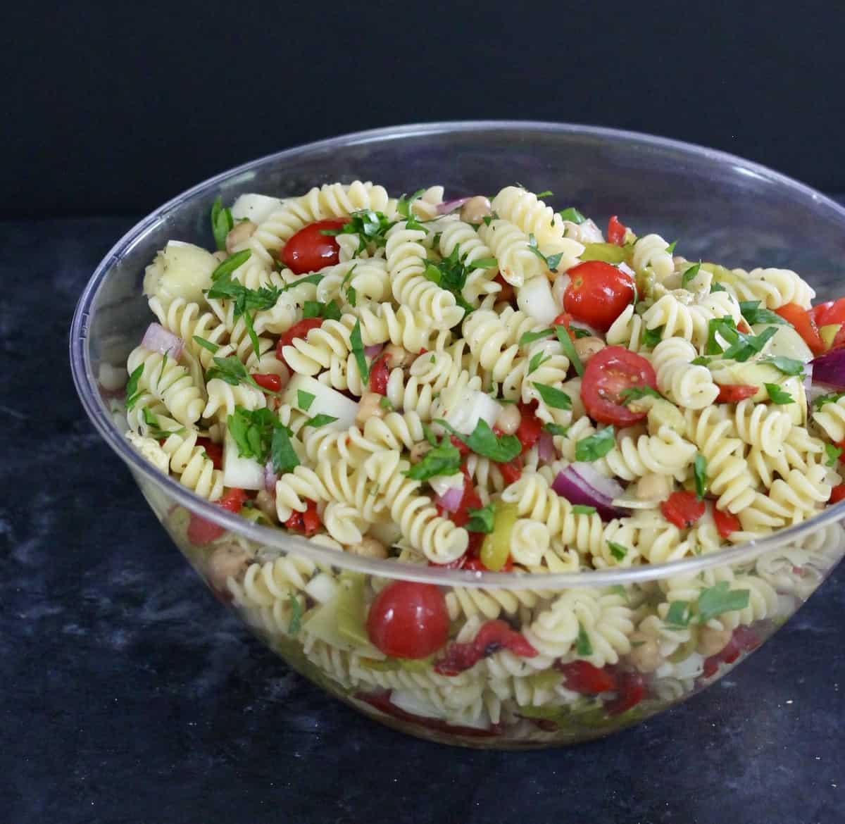 vegan pasta salad in a large bowl