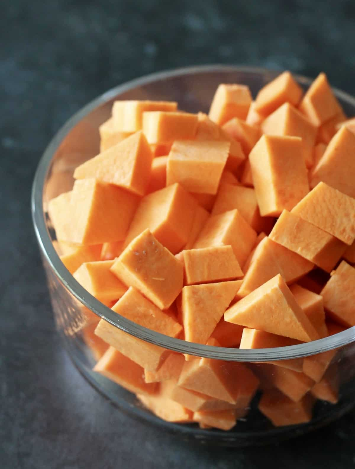 chopped up sweet potatoes for Thai peanut salad