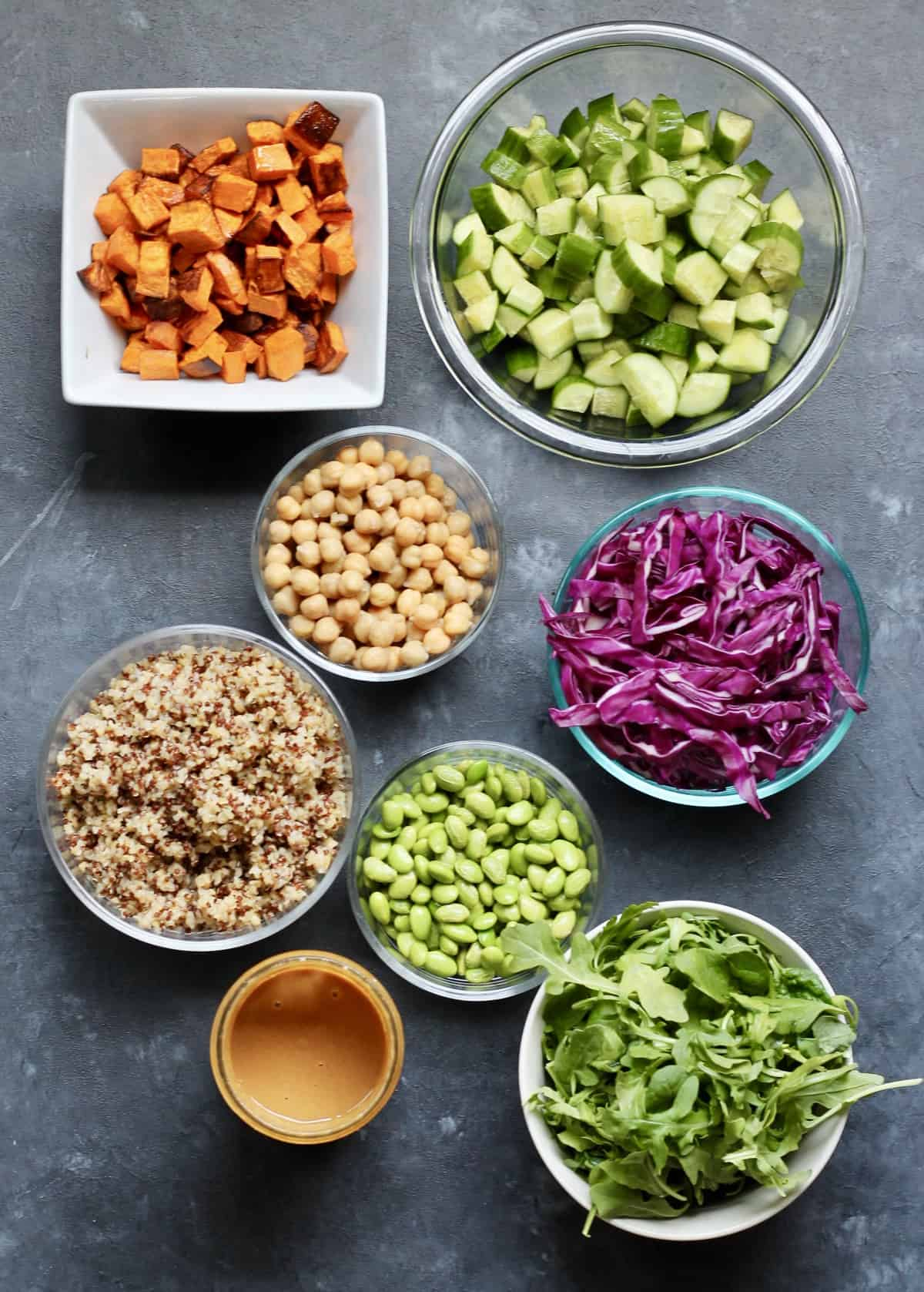 ingredients to make Thai peanut salad in a jar