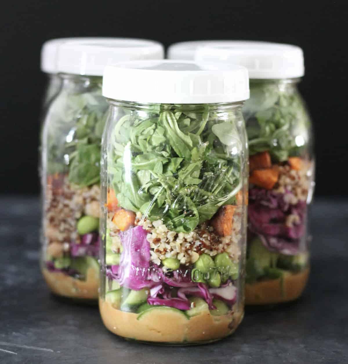 thai peanut salad in a jar
