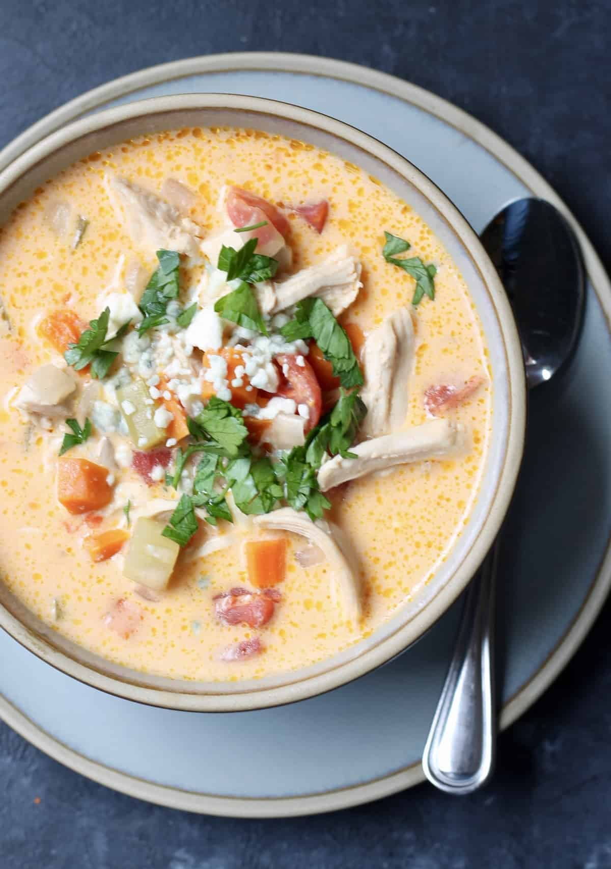 buffalo chicken soup recipe in a bowl