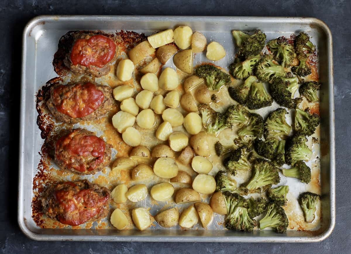 mini meatloaves topped with ketchup and served with roasted potatoes and broccoli