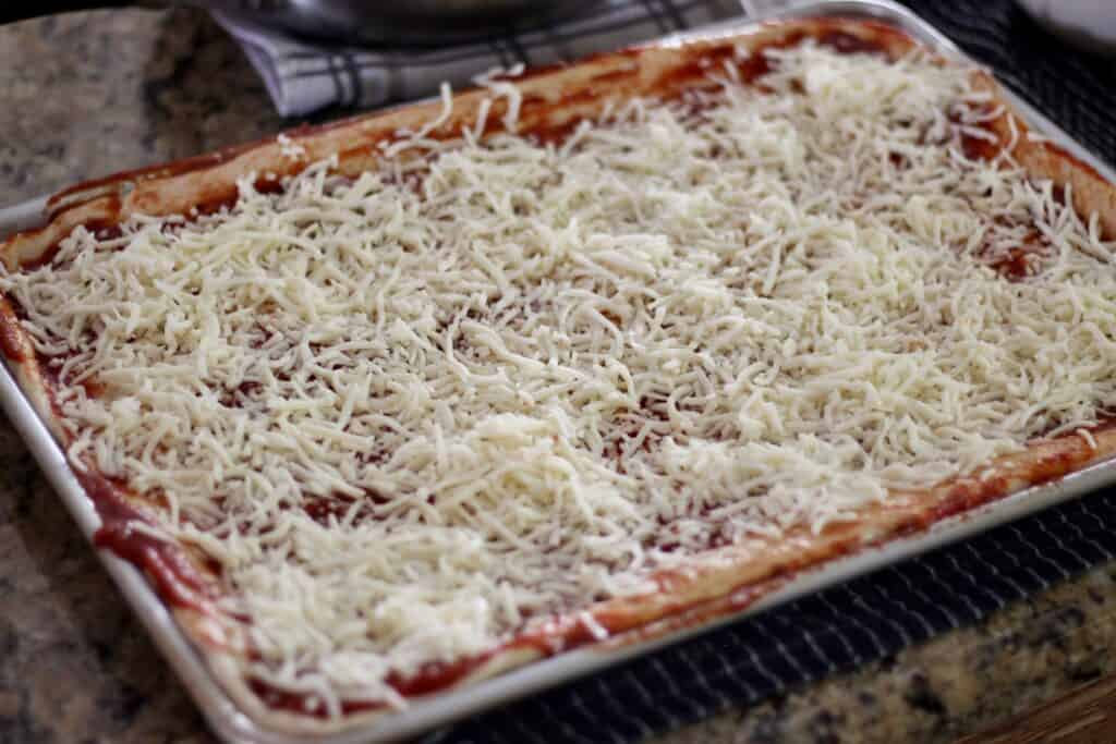 sheet pizza before cooking