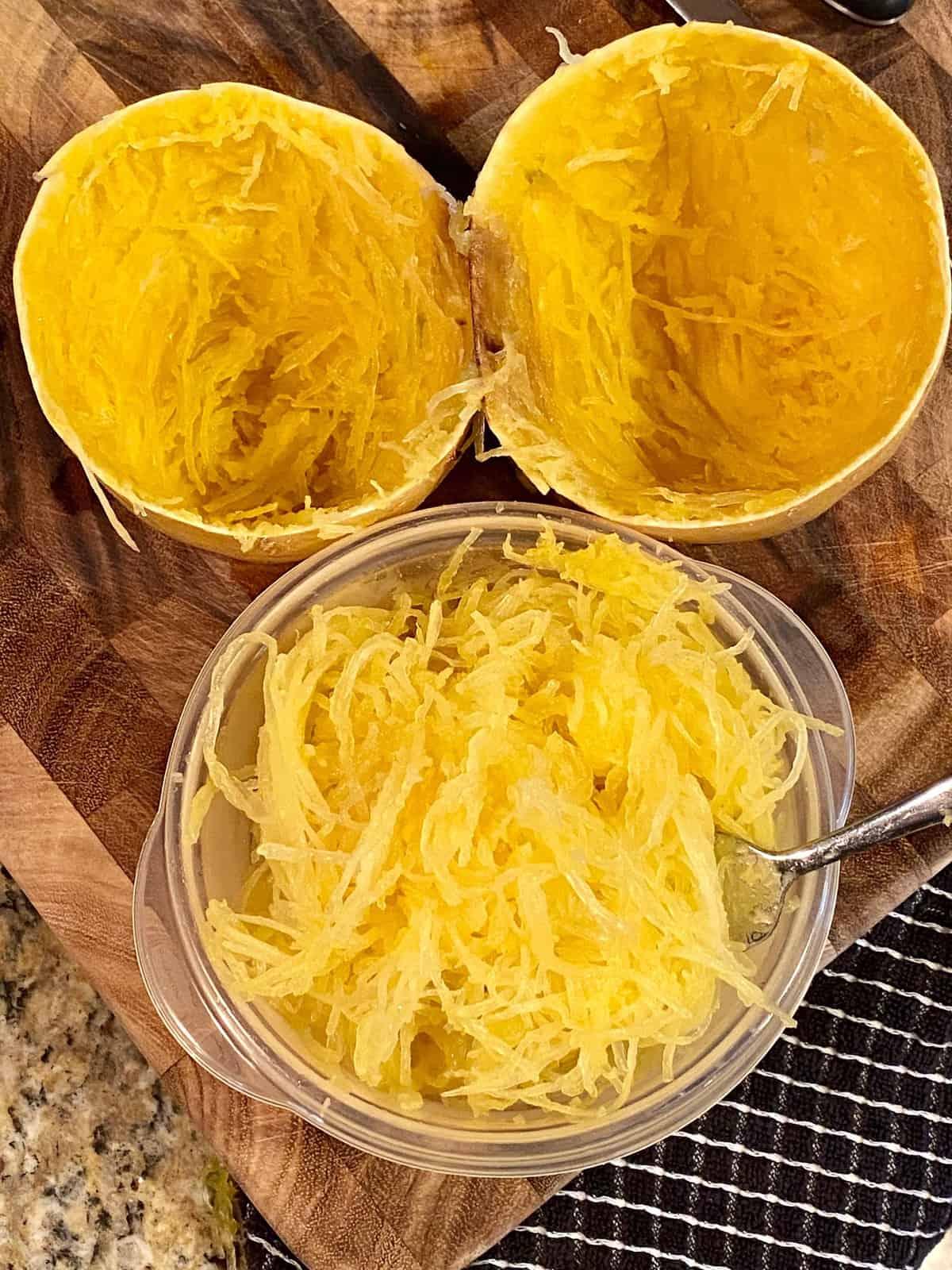 shredding spaghetti squash with a fork