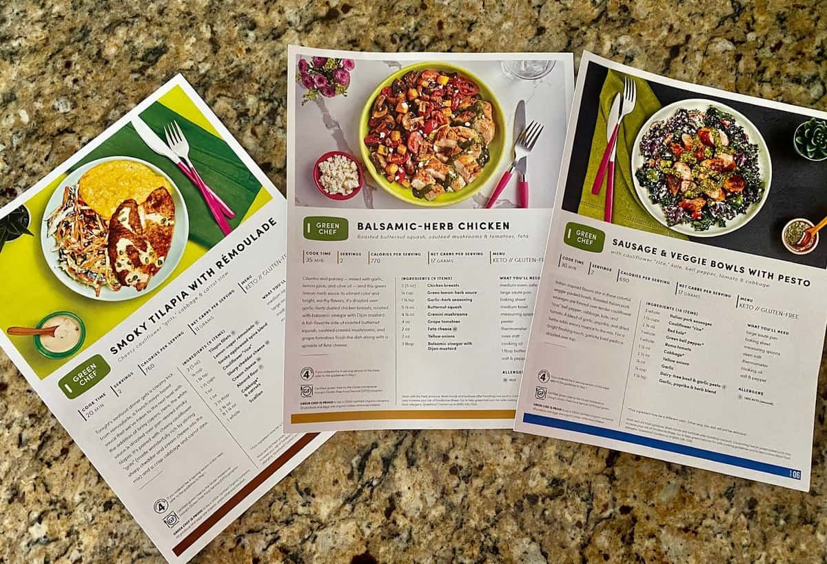 green chef recipe cards