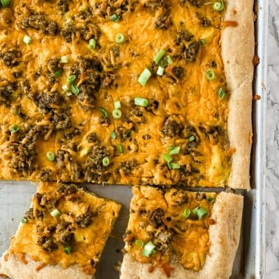 healthy breakfast pizza cooked in a sheet pan