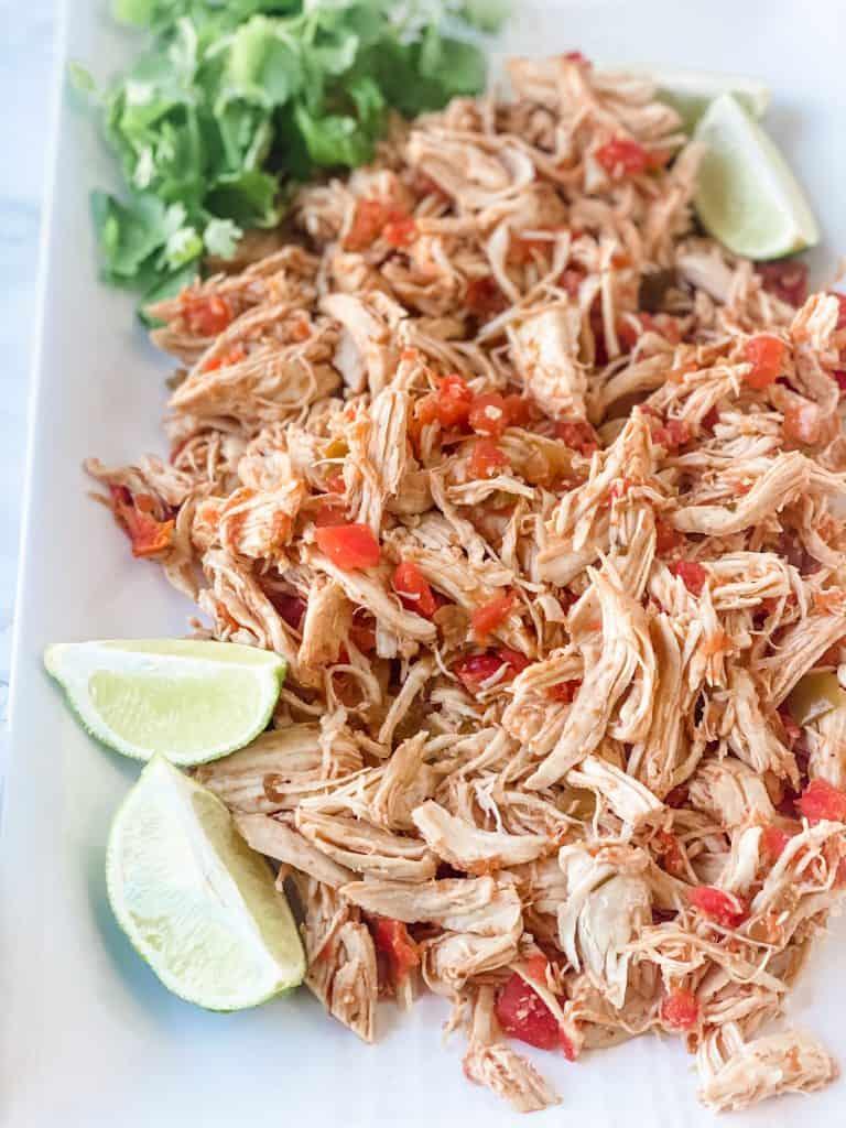 shredded chicken on platter