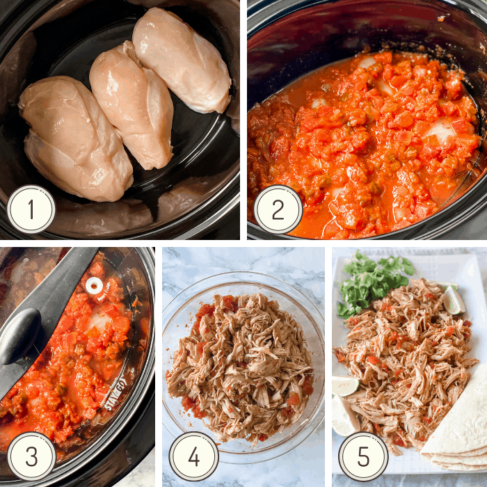step by step photo collage on how to make slow cooker salsa chicken.