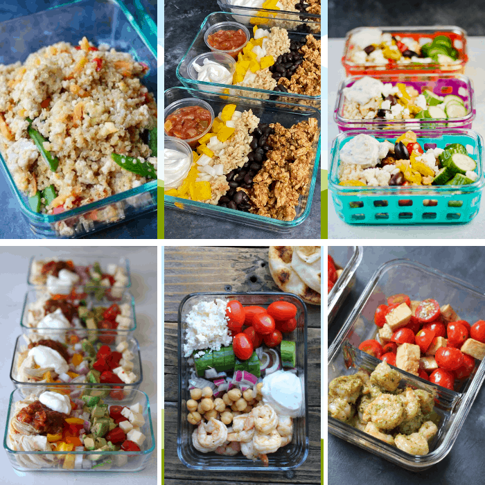 six pictures of meal prep bowls