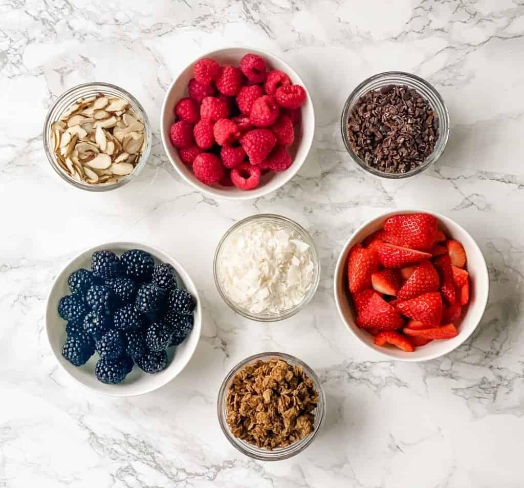 ingredients for yogurt bowls