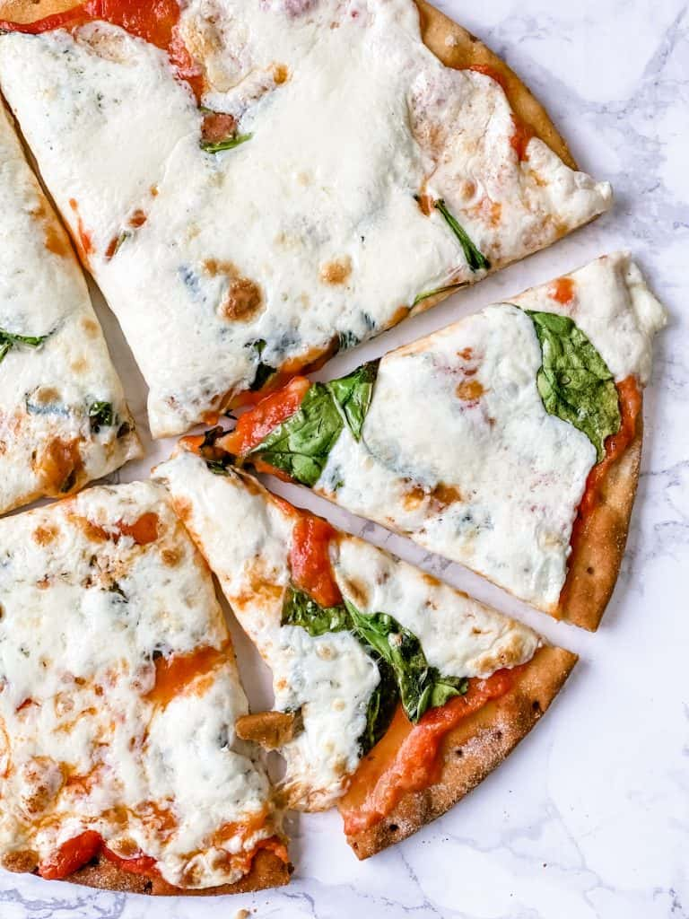 low carb pizza cut into slices
