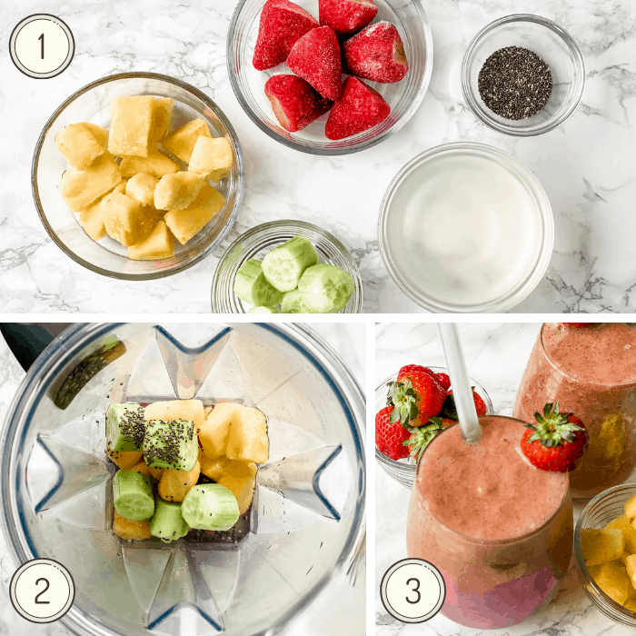step by step photos for making a strawberry pineapple smoothie