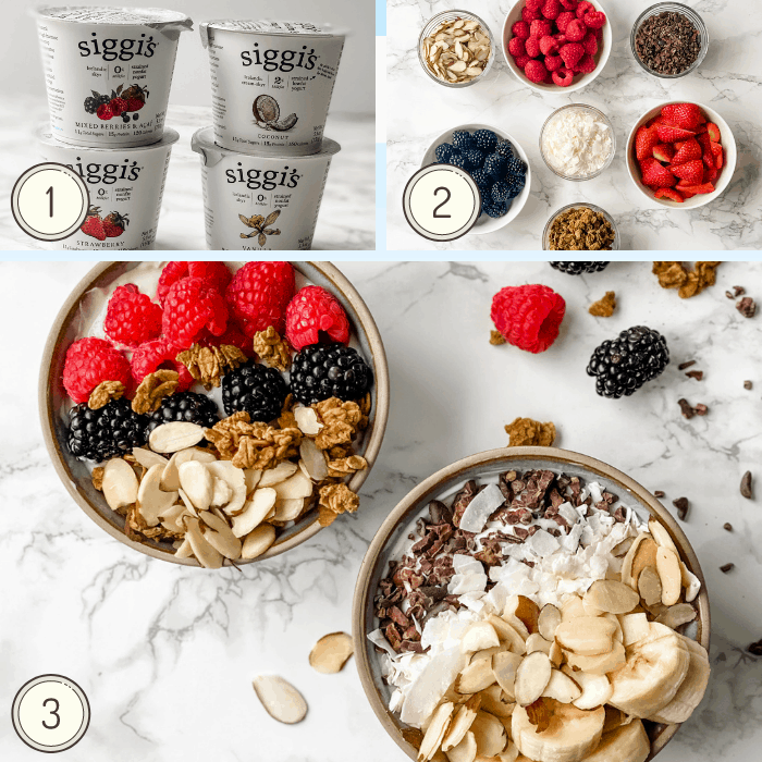 step by step collage showing how to make a yogurt bowl