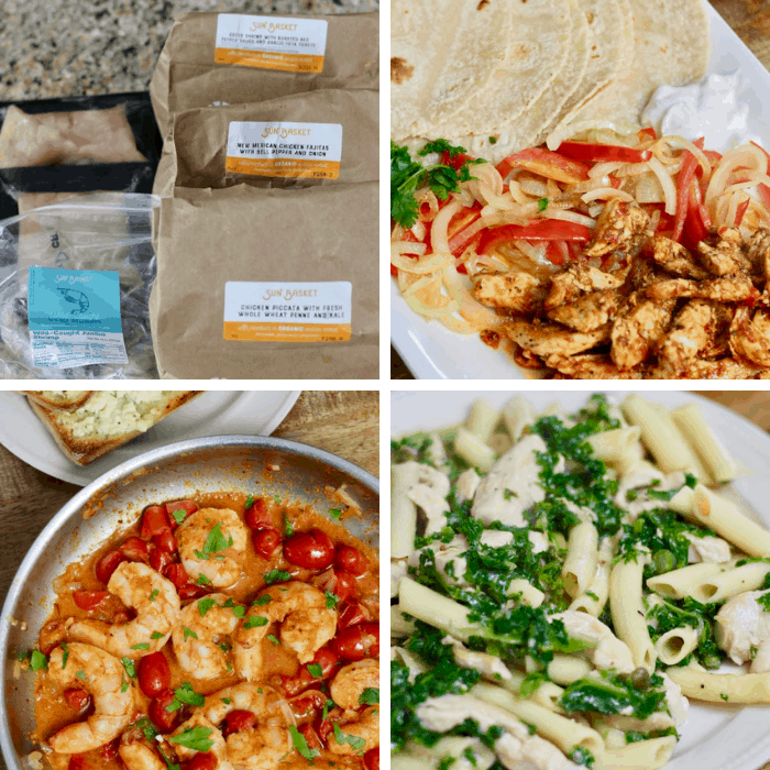 photos that include sun basket meal kits and the kits prepared.