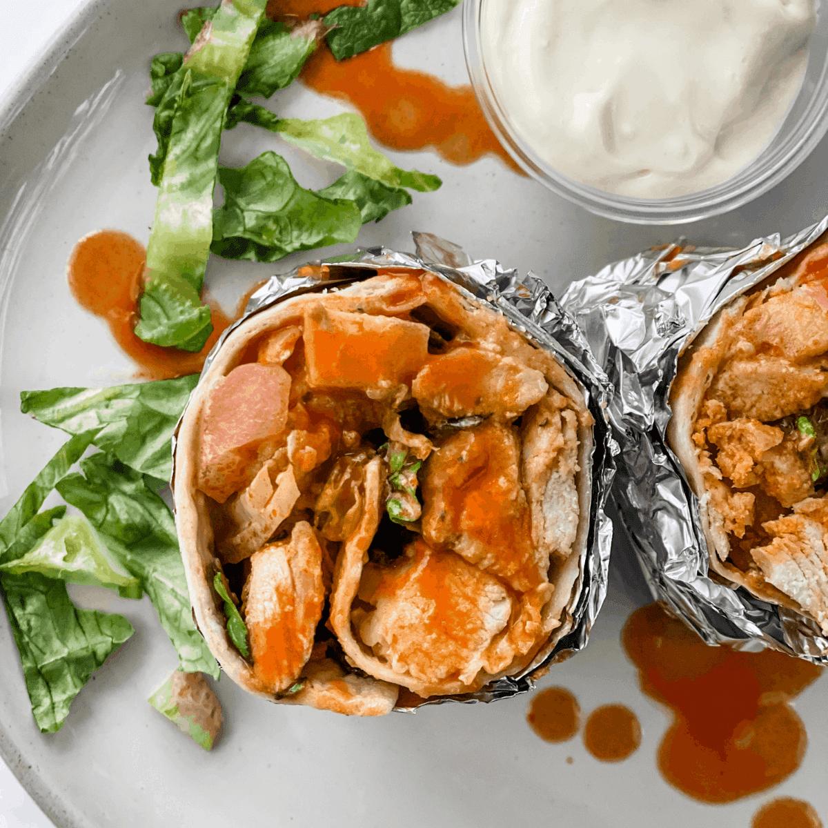 Buffalo chicken wrap on a plate