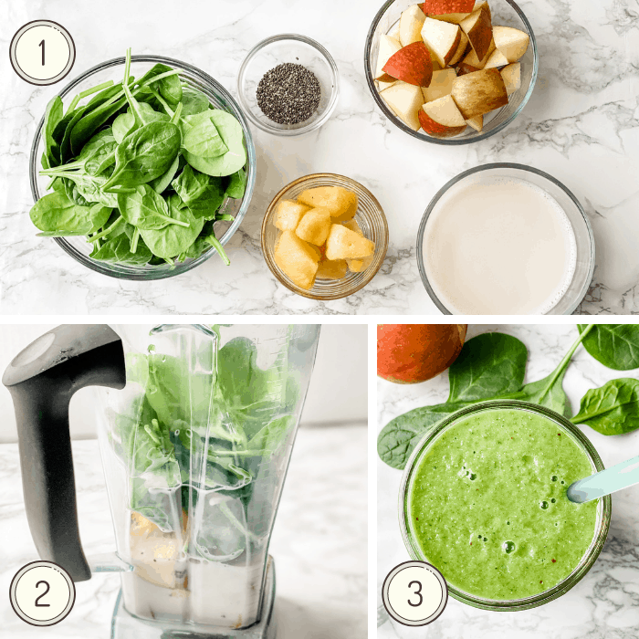 step by step picture instructions for making a spinach smoothie